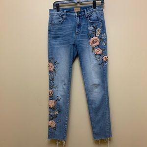 HP Driftwood Jackie Skinny Embroidered Jeans SZ 27
